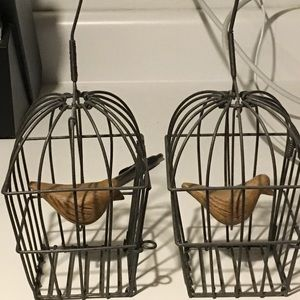 Other - Twin Hanging Bird Cage with Swinging Birds